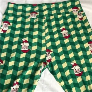 LuLaRoe TC2 Christmas Leggings Santa Green Holiday